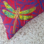 Red Dragonfly Cushion detail