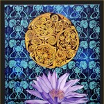 Celtic Lily-acrylic, painting & lino prints on canvas